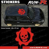 Adhesifs Toits 1 sticker de toit TETE DE MORT 69 cm - ROUGE - TOUS VEHICULES Run-R Stickers