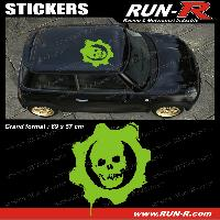 Adhesifs Toits 1 sticker de toit TETE DE MORT 69 cm - VERT - TOUS VEHICULES Run-R Stickers