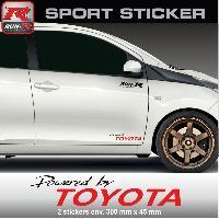 Adhesifs Toyota PW12NR Sticker Powered by TOYOTA - NOIR ROUGE - pour Aygo Yaris Auris RAV4 C-HR Verso GT86 Celica Supra Run-R Stickers