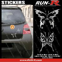 Adhesifs Tribal - Tattoo 2 stickers PAPILLON TRIBAL 13 cm - ARGENT Run-R Stickers