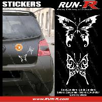 Adhesifs Tribal - Tattoo 2 stickers PAPILLON TRIBAL 13 cm - BLANC Run-R Stickers