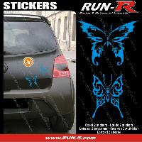 Adhesifs Tribal - Tattoo 2 stickers PAPILLON TRIBAL 13 cm - BLEU