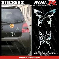 Adhesifs Tribal - Tattoo 2 stickers PAPILLON TRIBAL 13 cm - CHROME Run-R Stickers