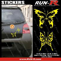 Adhesifs Tribal - Tattoo 2 stickers PAPILLON TRIBAL 13 cm - JAUNE