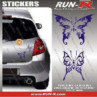 Adhesifs Tribal - Tattoo 2 stickers PAPILLON TRIBAL 13 cm - MARINE Run-R Stickers