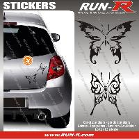Adhesifs Tribal - Tattoo 2 stickers PAPILLON TRIBAL 13 cm - NOIR Run-R Stickers