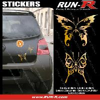 Adhesifs Tribal - Tattoo 2 stickers PAPILLON TRIBAL 13 cm - OR