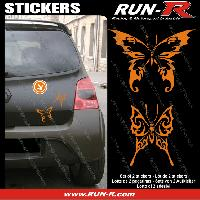 Adhesifs Tribal - Tattoo 2 stickers PAPILLON TRIBAL 13 cm - ORANGE