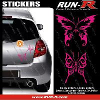 Adhesifs Tribal - Tattoo 2 stickers PAPILLON TRIBAL 13 cm - ROSE Run-R Stickers