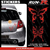 Adhesifs Tribal - Tattoo 2 stickers PAPILLON TRIBAL 13 cm - ROUGE Run-R Stickers