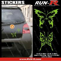 Adhesifs Tribal - Tattoo 2 stickers PAPILLON TRIBAL 13 cm - VERT Run-R Stickers
