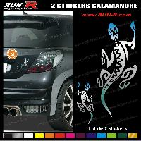 Adhesifs Tribal - Tattoo 2 stickers SALAMANDRE TRIBAL 18 cm - CHROME
