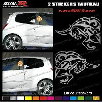 Adhesifs Tribal - Tattoo 2 stickers TAUREAU TRIBAL 15 cm - DIVERS COLORIS