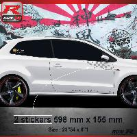 Adhesifs Volkswagen 000A Sticker FLAG compatible avec VOLKSWAGEN POLO 6R Argent
