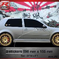 Adhesifs Volkswagen 000A Sticker FLAG pour VOLKSWAGEN GOLF 4 Argent Run-R Stickers