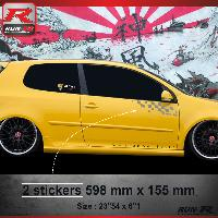 Adhesifs Volkswagen 000A Sticker FLAG pour VOLKSWAGEN GOLF 5 Argent Run-R Stickers
