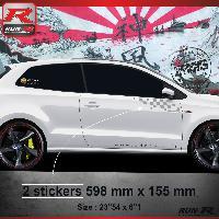 Adhesifs Volkswagen 000A Sticker FLAG pour VOLKSWAGEN POLO 6R Argent Run-R Stickers