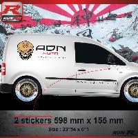 Adhesifs Volkswagen 000B Sticker FLAG pour VOLKSWAGEN CADDY Blanc Run-R Stickers