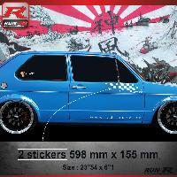 Adhesifs Volkswagen 000B Sticker FLAG pour VOLKSWAGEN GOLF 1 Blanc Run-R Stickers
