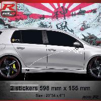Adhesifs Volkswagen 000B Sticker FLAG pour VOLKSWAGEN GOLF 6 Blanc Run-R Stickers