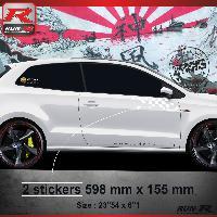 Adhesifs Volkswagen 000B Sticker FLAG pour VOLKSWAGEN POLO 6R Blanc Run-R Stickers