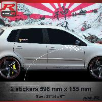 Adhesifs Volkswagen 000B Sticker FLAG pour VOLKSWAGEN POLO 9N Blanc Run-R Stickers