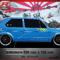 Adhesifs Volkswagen 000J Sticker FLAG pour VOLKSWAGEN GOLF 1 Jaune Run-R Stickers