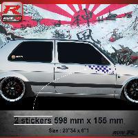 Adhesifs Volkswagen 000M Sticker FLAG compatible avec VOLKSWAGEN GOLF 2 Marine