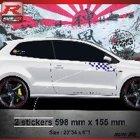 Adhesifs Volkswagen 000M Sticker FLAG pour VOLKSWAGEN POLO 6R Marine Run-R Stickers