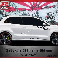 Adhesifs Volkswagen 000N Sticker FLAG compatible avec VOLKSWAGEN POLO 6R Noir