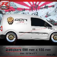 Adhesifs Volkswagen 000N Sticker FLAG pour VOLKSWAGEN CADDY Noir Run-R Stickers