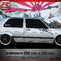 Adhesifs Volkswagen 000N Sticker FLAG pour VOLKSWAGEN GOLF 2 Noir Run-R Stickers