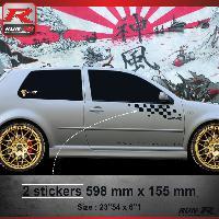Adhesifs Volkswagen 000N Sticker FLAG pour VOLKSWAGEN GOLF 4 Noir Run-R Stickers