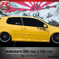 Adhesifs Volkswagen 000N Sticker FLAG pour VOLKSWAGEN GOLF 5 Noir Run-R Stickers