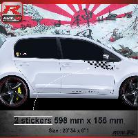 Adhesifs Volkswagen 000N Sticker Flag pour VOLKSWAGEN UP Noir Run-R Stickers