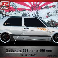 Adhesifs Volkswagen 000O Sticker FLAG pour VOLKSWAGEN GOLF 2 Orange Run-R Stickers