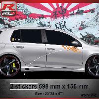 Adhesifs Volkswagen 000O Sticker FLAG pour VOLKSWAGEN GOLF 6 Orange Run-R Stickers