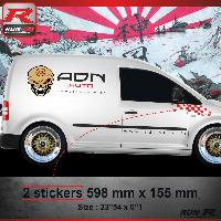 Adhesifs Volkswagen 000R Sticker FLAG pour VOLKSWAGEN CADDY Rouge Run-R Stickers