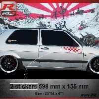 Adhesifs Volkswagen 000R Sticker FLAG pour VOLKSWAGEN GOLF 2 Rouge Run-R Stickers