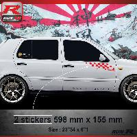Adhesifs Volkswagen 000R Sticker FLAG pour VOLKSWAGEN GOLF 3 Rouge Run-R Stickers