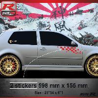 Adhesifs Volkswagen 000R Sticker FLAG pour VOLKSWAGEN GOLF 4 Rouge Run-R Stickers