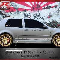 Adhesifs Volkswagen 009A Sticker RACING pour VOLKSWAGEN GOLF 4 Argent Run-R Stickers