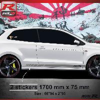 Adhesifs Volkswagen Sticker bas de caisse 009A RACING VW POLO 6R - Argent Run-R Stickers