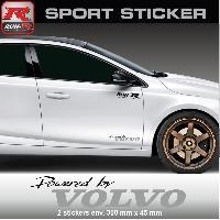 Adhesifs Volvo PW14 NA - Sticker Powered by VOLVO - NOIR ARGENT - pour S40 V40 C30 S60 V60 S90 V90 XC60 XC90 Run-R Stickers