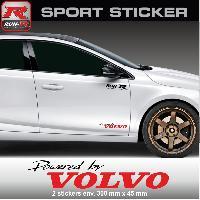 Adhesifs Volvo PW14 NR - Sticker Powered by VOLVO - NOIR ROUGE - pour S40 V40 C30 S60 V60 S90 V90 XC60 XC90 Run-R Stickers