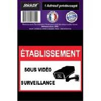 Adhesifs & Stickers 1 Adhesif Pre-Decoupe ETABLISSEMENT Sous Video Surveillance