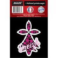 Adhesifs & Stickers 1 Autocollant Hermine Rose A Fleur Breizh