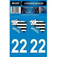 Adhesifs & Stickers 2 Autocollants Departement 22 Carte Bretagne SR22-2
