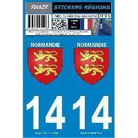 Adhesifs & Stickers 2 autocollants Region Departement 14 -nouvelle version-