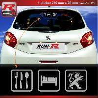 Adhesifs & Stickers Sticker EAT SLEEP PEUGEOT pour 208 207 206 argent